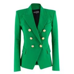Balmain Green Double-Breasted Blazer Size 38