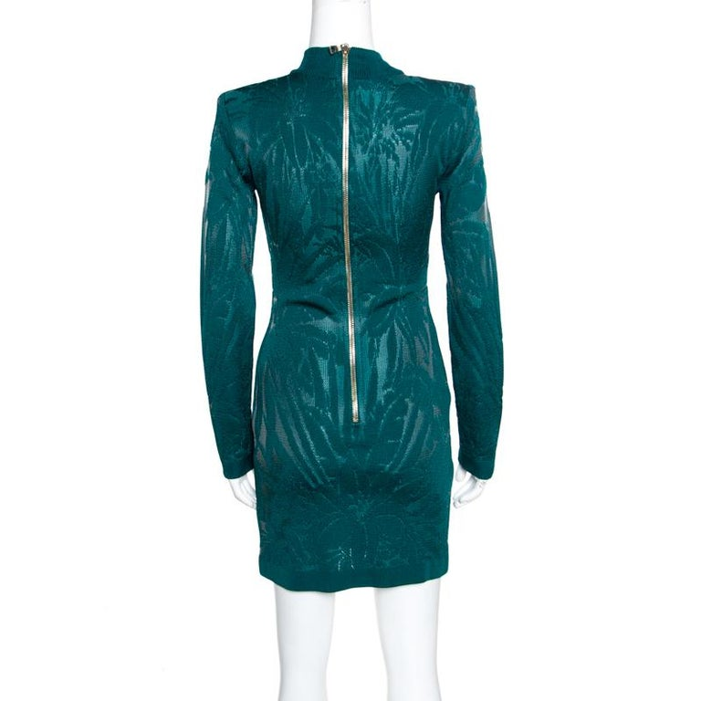 Balmain Green Floral Jacquard Knit High Neck Power Shoulder Mini Dress M In Excellent Condition In Dubai, Al Qouz 2