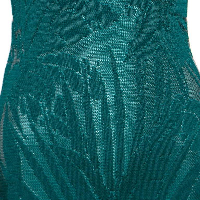 Women's Balmain Green Floral Jacquard Knit High Neck Power Shoulder Mini Dress M