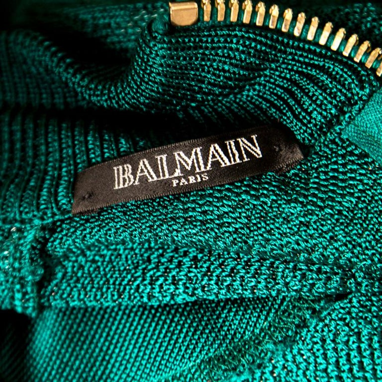 Balmain Green Floral Jacquard Knit High Neck Power Shoulder Mini Dress M 1