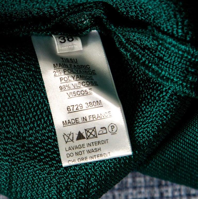 Balmain Green Floral Jacquard Knit High Neck Power Shoulder Mini Dress M 2