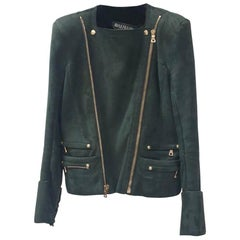 Balmain Green Shearling Biker Style Leather Jacket