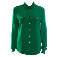 Balmain Green Silk Gold Button Detail Long Sleeve Classic Shirt M