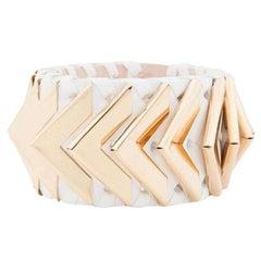 Balmain Greta Small White Napa Leather Bracelet