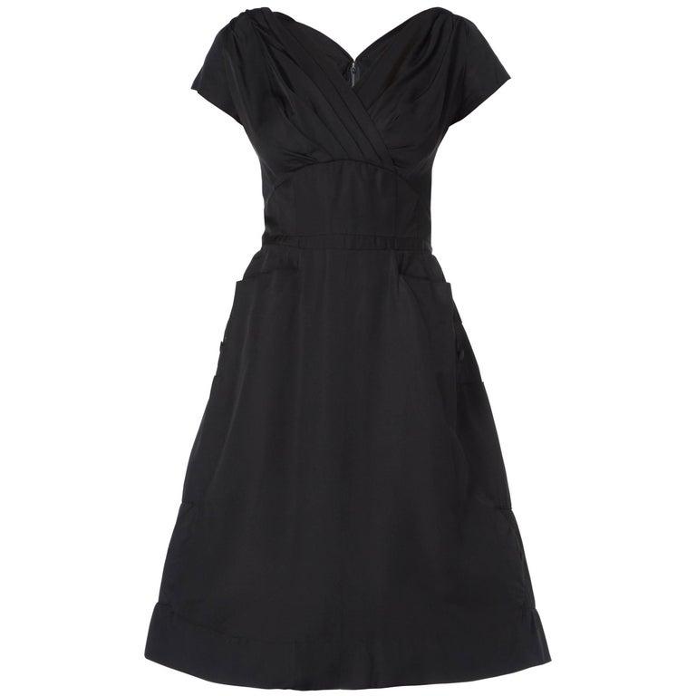 Balmain Haute couture black silk dress, circa 1955