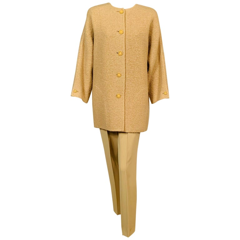 Balmain Haute Couture Jacket in Double Faced Wool and Pants in Herringbone Wool For Sale