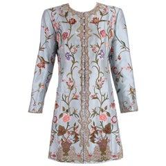 Balmain Haute Couture Light Blue Embroidered Coat w/Floral Theme No.173424