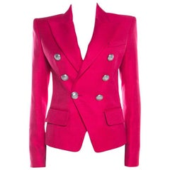 Balmain Hot Pink Basketweave Textured Double Breasted Blazer S