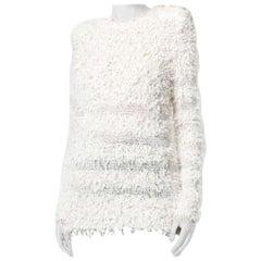 Balmain Ivory Cotton Blent Textured Knit Top - Size US 4