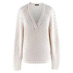 Balmain Ivory Glitter Chunky Knit Jumper - Size US 6