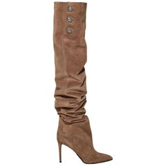 Balmain Janet Button Embellished Suede Thigh High Boots