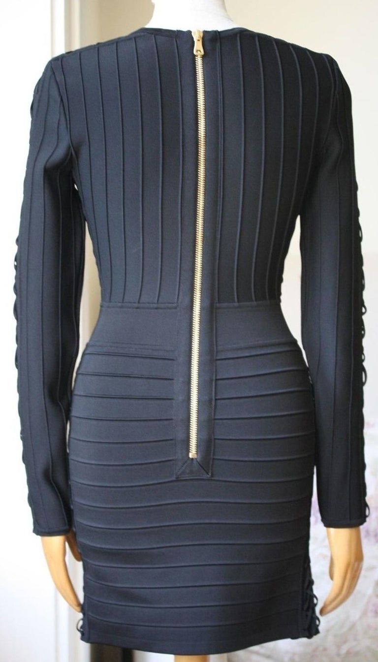 fa57d2b9 Balmain Lace-Up Ribbed Stretch-Knit Mini Dress In Excellent Condition For  Sale In