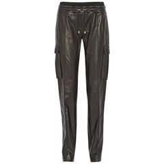 Balmain Leather Straight-Leg Trousers