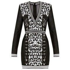 Balmain Leopard Jacquard Knit Mini Dress