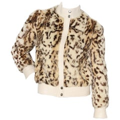 Balmain Leopard Print Fur & Leather Moto Jacket