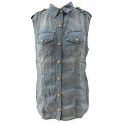 Balmain Light Blue Denim Shirt