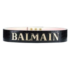 Balmain Logo Embellished Croc Embossed Leather Waist Belt