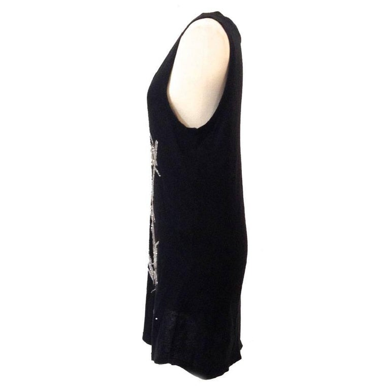 BALMAIN Long T-Shirt or Dress in Black Embroidered Cotton and Cashmere In Excellent Condition For Sale In Paris, FR
