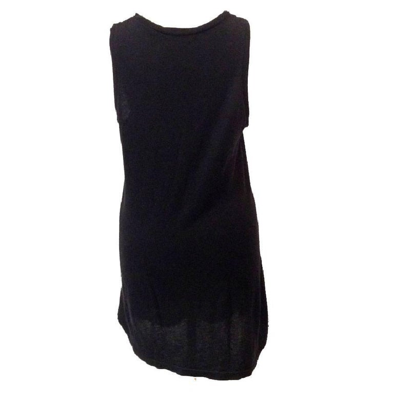 Women's BALMAIN Long T-Shirt or Dress in Black Embroidered Cotton and Cashmere For Sale