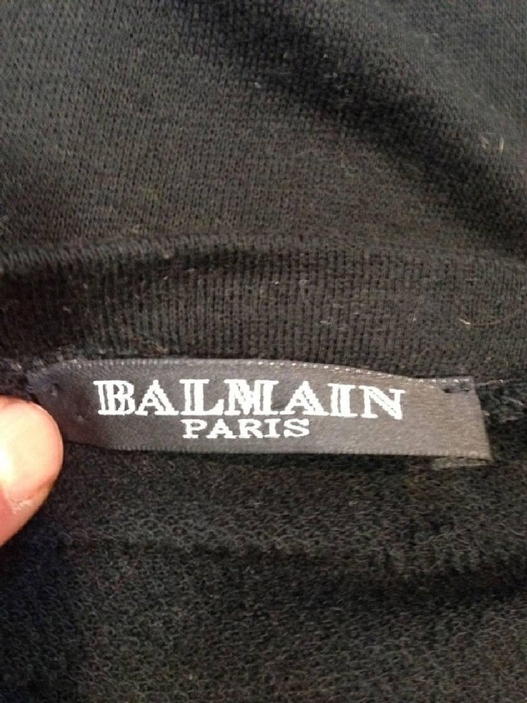 BALMAIN Long T-Shirt or Dress in Black Embroidered Cotton and Cashmere For Sale 3