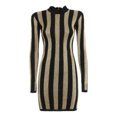 NEW Balmain Lurex Gold Black Striped Pattern Mini Dress US 2