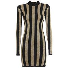 Balmain Lurex Gold Black Striped Pattern Mini Dress