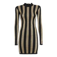 Balmain Lurex Gold Black Striped Pattern Mini Dress US2-4 FR36
