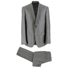 Balmain Men's Grey Check Slim Fit Suit SIZE 50