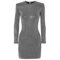 BALMAIN Metallic Rhinestone Bodycon Cocktail Dress  FR38 US 4-6