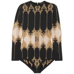 Balmain Metallic Tulle-Paneled Stretch-Knit Bodysuit