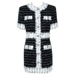 Balmain Monochrome Cotton Blend Tweed Mini Dress L