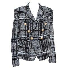 Balmain Monochrome Lurex Unstructured Tweed Double Breasted Blazer M