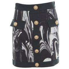 Balmain Monochrome Marble Printed Logo Button Detail Mini Skirt S