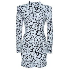 Balmain Monochrome Sequin Embellished Mini Dress M