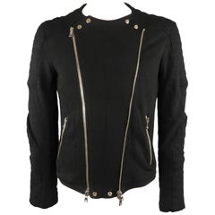 BALMAIN Motorcycle Jacket - Size Large - Men's Black Cotton / Linen