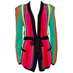 Balmain Multicolor Stripe Open Knit Belted Cardigan M