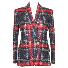 Balmain Multicolored Tartan Tweed Blazer