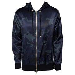 Balmain Navy Blue Camouflage Print Cotton Blend Zip Front Hoodie L