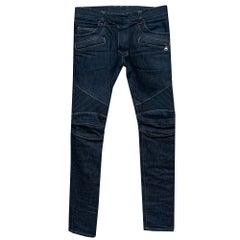 Balmain Navy Blue Denim Biker Jeans S