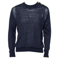 Balmain Navy Blue Linen Knit Shoulder Button Detail Distressed Sweater L