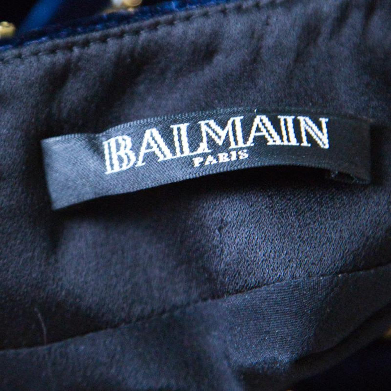 4bb5baeb Balmain Navy Blue Velvet Crystal Embellished Long Sleeve Mini Dress M For  Sale at 1stdibs