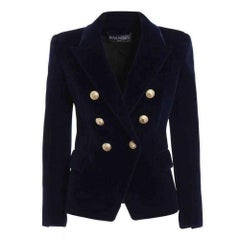 Balmain Navy Blue Velvet Double Breasted Blazer Jacket FR38 US4-6