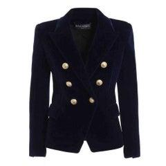 Balmain Navy Blue Velvet Double Breasted Blazer Jacket FR40 US6-8