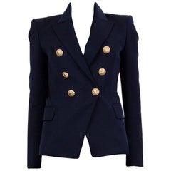 BALMAIN navy blue wool SIGNATURE DOUBLE BREASTED Blazer Jacket 36