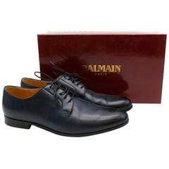 Balmain Navy Leather Classic Oxford Shoes - Size EU 44