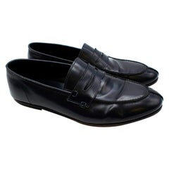 Balmain Navy Leather Mens Loafers - Size 44
