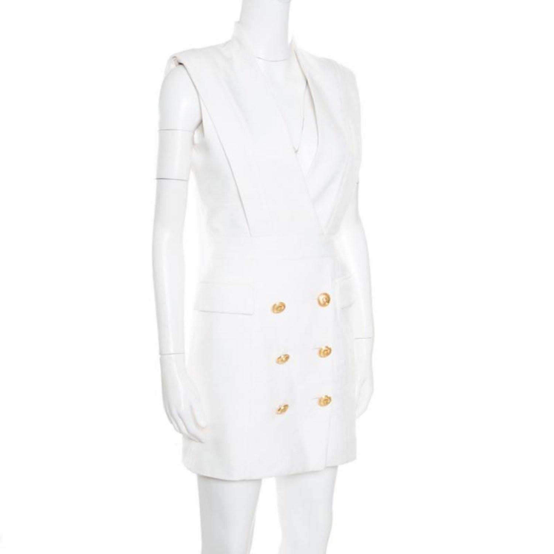 76d60700ba Balmain Off White Plunge Neck Sleeveless Blazer Dress M For Sale at 1stdibs