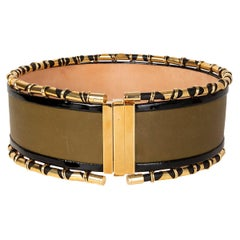 BALMAIN olive green leather WIDE WAIST Belt 36 XS