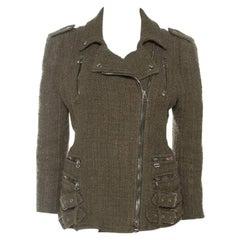 Balmain Olive Green Tweed Buckle Detail Zip Front Jacket L