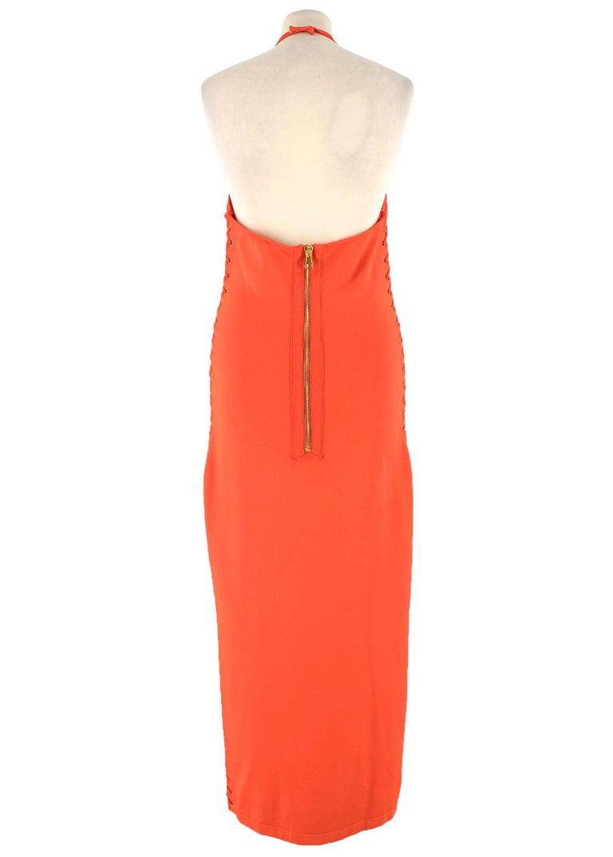Red Balmain orange lace-up halterneck midi dress US 8 For Sale